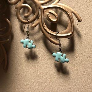Enamel puzzle piece earrings